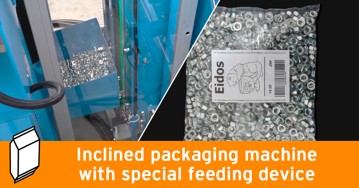 Inclined packaging machine with special feeding device